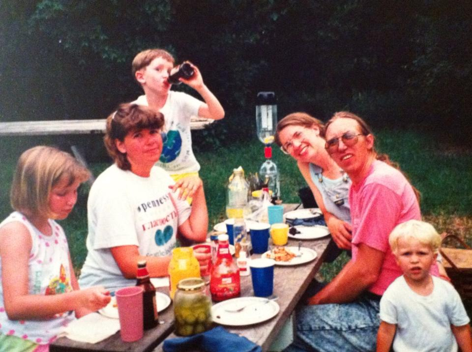 Birthdays and family time are important. Enjoy this old picture of me on the left, Mom, my little brother Austin, Aunt Janine, Uncle Doug, cousin John. Circa, oh, probably 1991.